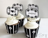 Printable digital file of art deco black and white customizable cupcake topper and wrapper