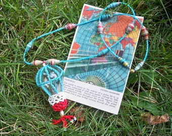 Hot Air Balloon Necklace - Vintage Lightbulb, Seed Beads and Handmade Paperbeads - 100% Donated to Womens Empowerment - Wearable Art