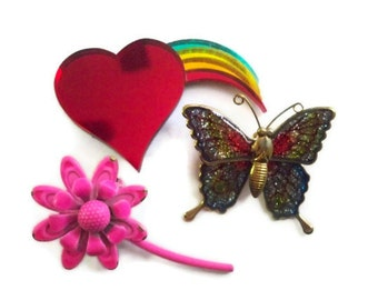 Trio of Colorful VINTAGE Pins/ Brooches - Neon Pink Flower, Heart and Rainbow, Glittery Butterfly
