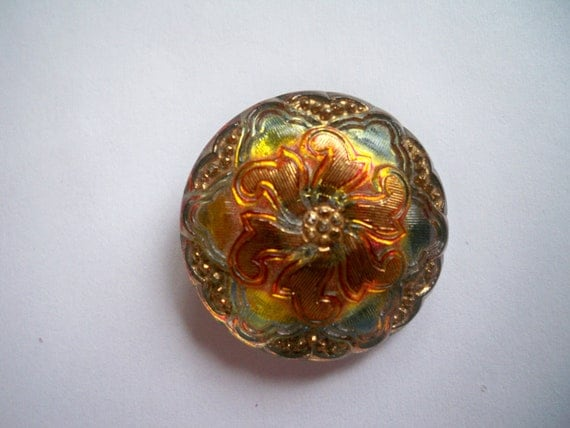 Reserved - Czech Glass Button Pendant