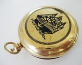 steampunk gold tone Large solid Brass Pocket Dalvey Style Magnetic  Compass With ship design Attached Lid