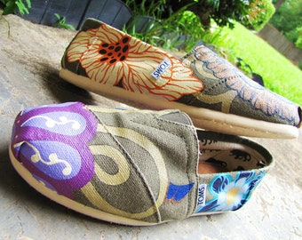 "Hand Painted TOMS Classic Canvas ""Fresh From The Garden: Lucky Number 7"" Custom Slip-Ons"