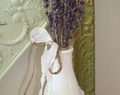 Lavender Filled White Ceramic Bottle-Lace-Burlap-Jute String-Fleur De Lis-Seam Binding-Diamond Accents-Shabby-French-Cottage-Romantic.