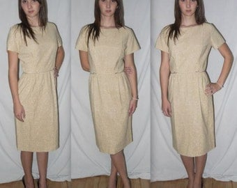 Vintage 60s Dress / Gold LUREX w/ Bow Details / Mad Men Party Holiday Shift Wiggle  / 1960s Dress / Bust 36 / S M