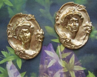 Vintage Gibson Girl  Brass Stampings 2Pcs.