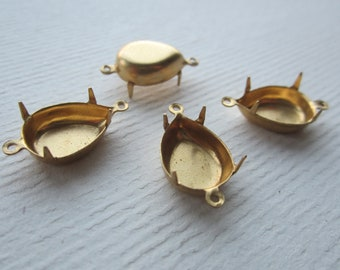 15x11mm Golden Raw Brass 4 Prong 2 Loop Pear Settings 4Pcs.