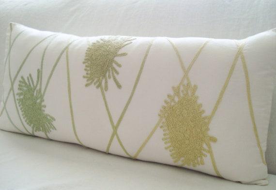 Lumbar pillow - Bolster pillow  14 x 30 yellow green pillow