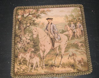 French 1800's Pillow Top / Tapestry French / Passementerie Metalic Trim / Hunting Scene