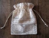 Bag, Lace gift bag,  Wedding favor bag, Baby shower favor bag, Christmas gift bag