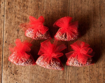 Tiny Tulle Bags With Dried Lavender Flower - Set of 5