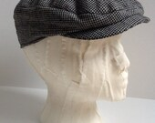 Ivy Cap Golf Cap in Black and White Linen- A Hat to grow with your child 5mths to 5yrs