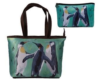 Penguins Matching Large Handbag and Matching Cosmetic Bag