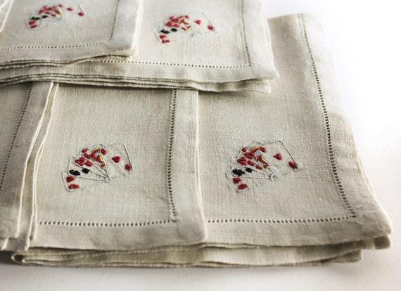 Linen Napkins - Set of Six - Cards / Bridge / Poker / Euchre / Gin Rummy Themed