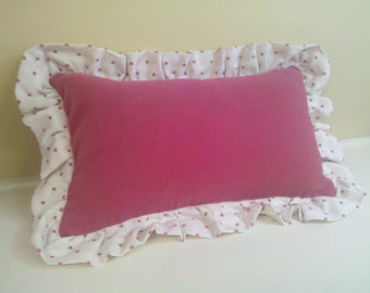pink polka dot lumbar pillow cover