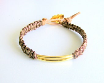 Macrame Bracelet with Gold Tubes and Brown Leather - Wai Bracelet