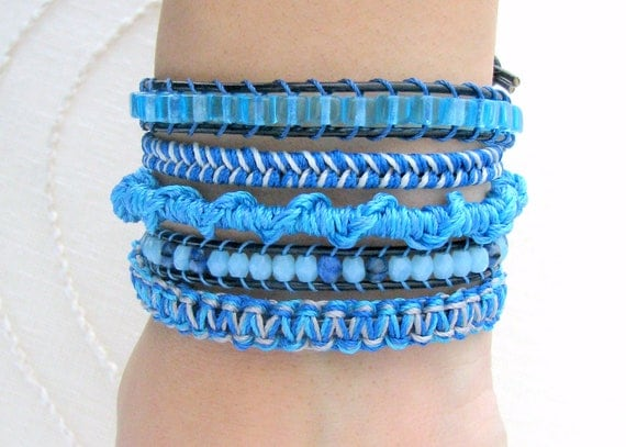 Macrame Wrap Bracelet With Navy Blue Leather and Silver Button Clasp - Shades of Blue