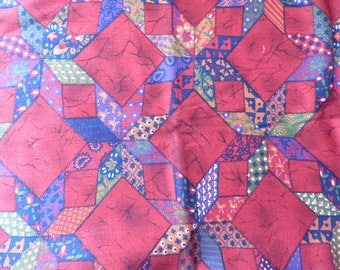 "Vintage Quilt Inspired Print Cotton Fabric 2 Yards 44"" Wide"