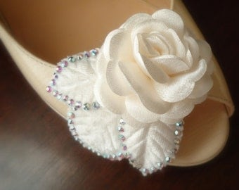 Ivory shoe clips. Off white rose and  leaves accented  with Swarovski Crystals  -3D Roses- Collection-