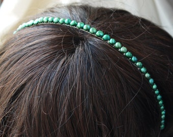 green pearl headband - forest green nugget pearl silver alice band for wedding bridesmaid or flowergirl