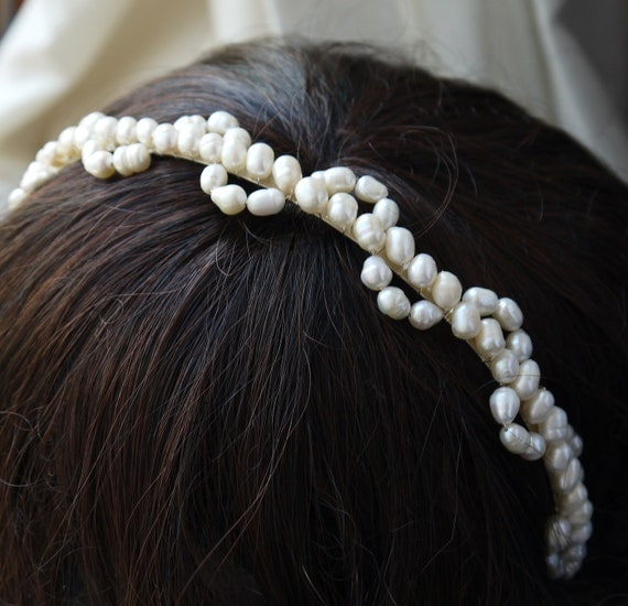 lace pearl tiara - freshwater pearl headband ivory rice pearl silver tiara alice band for bride, wedding