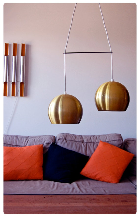 Gold Danish lamps, a set of two. Great retro lamps.
