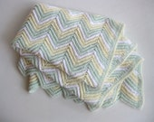 Multi-Color Vintage Chevron Knit Afghan Pale Yellow, Green, & White