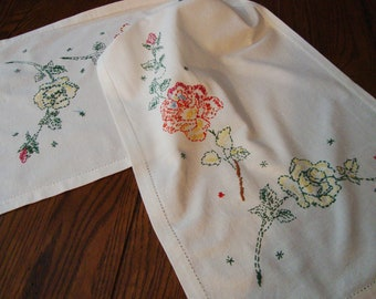 Floral Dresser Scarf Hand Embroidery Vintage Table Runner French Country