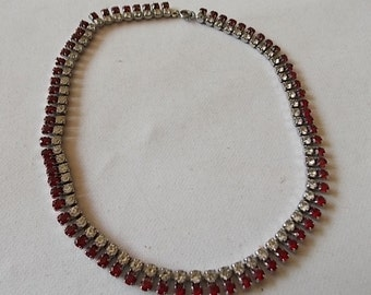 Vintage Red Clear Glass Necklace Very pretty