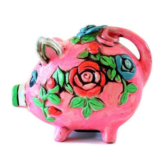 Pink Chalkware Piggy Bank