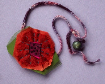 Boho Necklace fiber textile fabric choker red rose poppy flower pendant silk jewelry statement necklace embroidered Anthropologie style