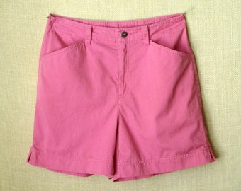 Pink Shorts high waisted hot pink cotton shorts vintage 90s Liz Claiborne Lizwear Jeans women size 8