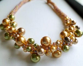 Beaded Kumihimo pearl cluster necklace, Autumn Memories gold & green