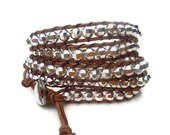 Silver cooper beads on leather cord  wrap bracelet.Unisex.