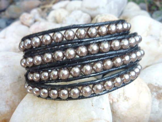 Wrap Bracelet.Big Faux Champagne Beads on Black Leather.