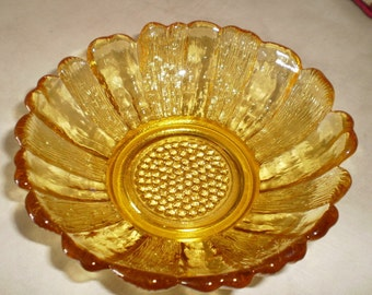 Vintage Sunflower Candy Dish Bowl Amber Yellow