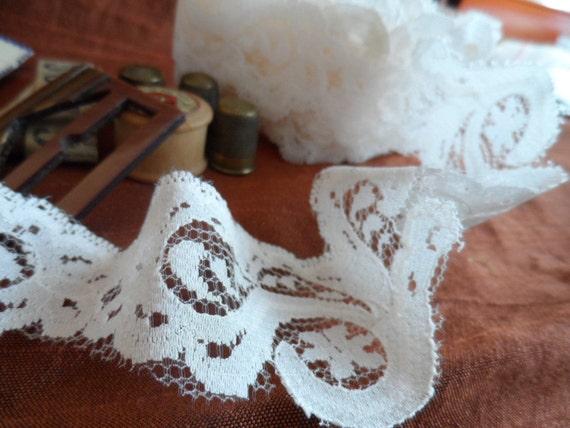 Vintage, cream floral nylon lace.