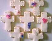 Cross Sugar Cookies (Assorted  Designs) - Weddings, Christenings, Baptisms, First Communion, Religious Events - (Custom Colors)