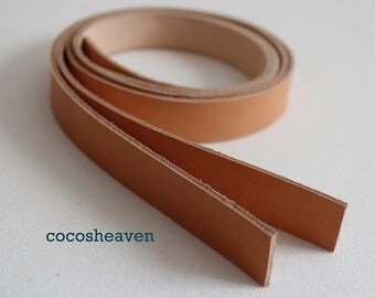 """Genuine Leather Strap / Leather Handle (1 pair of VEG-TAN color / set of 2) - 25"""" long (5-6oz)"""