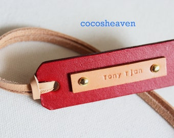Custom Leather Luggage Tag - (1 Tag)  - Tan & Red Double Sided - Perfect Gift for Birthday, Wedding or Anniversary