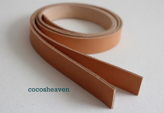 "Genuine Leather Strap / Leather Handle (1 pair of VEG-TAN color / set of 2) - 25"" long (5-6oz)"