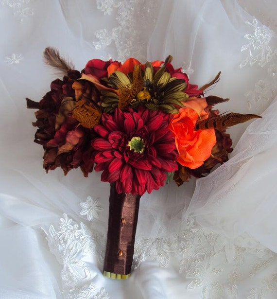 Wedding Fall Inspired Real Touch/Silk Bouquet - Real Touch Red Roses and Calla Lilies,orange roses,Red/green Gerbera Daisies& Copper Peonies