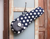 Soprano ukulele case - Dottie Dream - Navy Blue Polka dot Ukulele Case (Ready to ship)