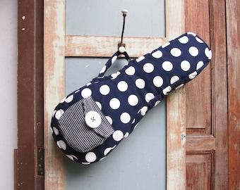 Soprano ukulele case - Dottie Dream - Navy Blue Polka dot Ukulele Case (Ready to ship)