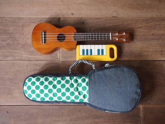 SALE - Tree Dot- Polka dot and stripe Ukulele Bag (Soprano size)