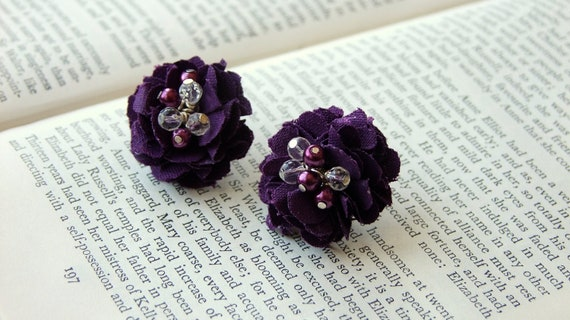 Purple fabric flower earrings studs posts with beaded centre