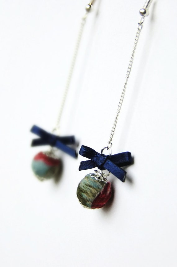 Navy and teal floral earrings, fabric covered bead and satin bow