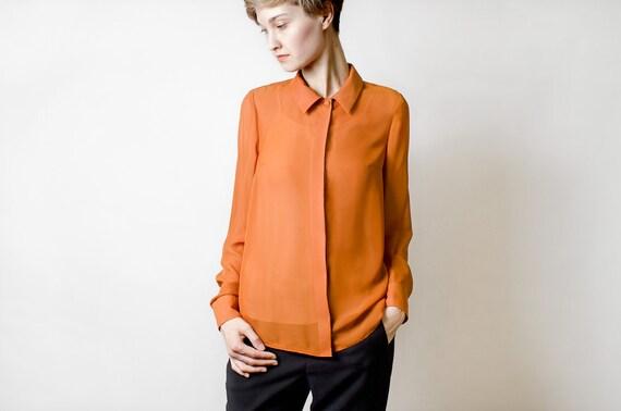 Sample sale - Long sleeve ochre women chiffon shirt