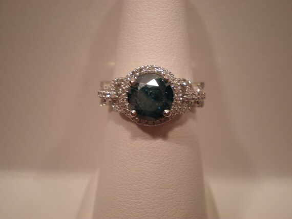RESERVED for TAMMY -  Stunning 1.55 ct blue diamond engagement ring set in 14K white gold in a halo of white diamonds