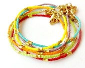 Beaded Stack Bracelet - Bright Colors & Gold Vermeil Skinny Jewelry - Layer Thin - Jewellery