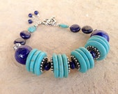 Turquoise and Lapis Bracelet - Navy Blue Jewelry - Sterling Silver Jewellery - Lapis Lazuli Gemstone - Beaded - Unique